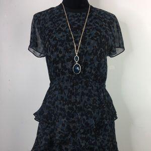 Madewell Black and Turquoise Ruffle Dress